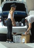 Mena Suvari seen loading up boxes at the UPS Store in West Hollywood, California