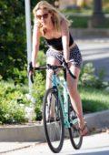 Mia Goth enjoys a bike ride around the neighborhood in Los Angeles