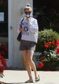 Mia Goth sports a sweatshirt and shorts while shopping for potted flower plants in Pasadena, California