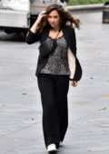 Myleene Klass dons a leopard print top with a black blazer as she arrives for show on Smooth Radio in London, UK