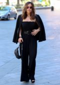 Myleene Klass sports all-black as she arrives at the Smooth Radio Studios in London, UK