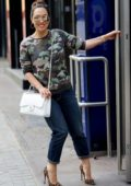 Myleene Klass wears a camouflage top and jeans as she arrives at the Global Studios in London, UK