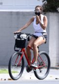 Nicole Murphy goes for a bike ride with her pup in Brentwood, California