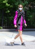 Olivia Palermo keeps it stylish as she walks her dog in Downtown, Brooklyn, New York
