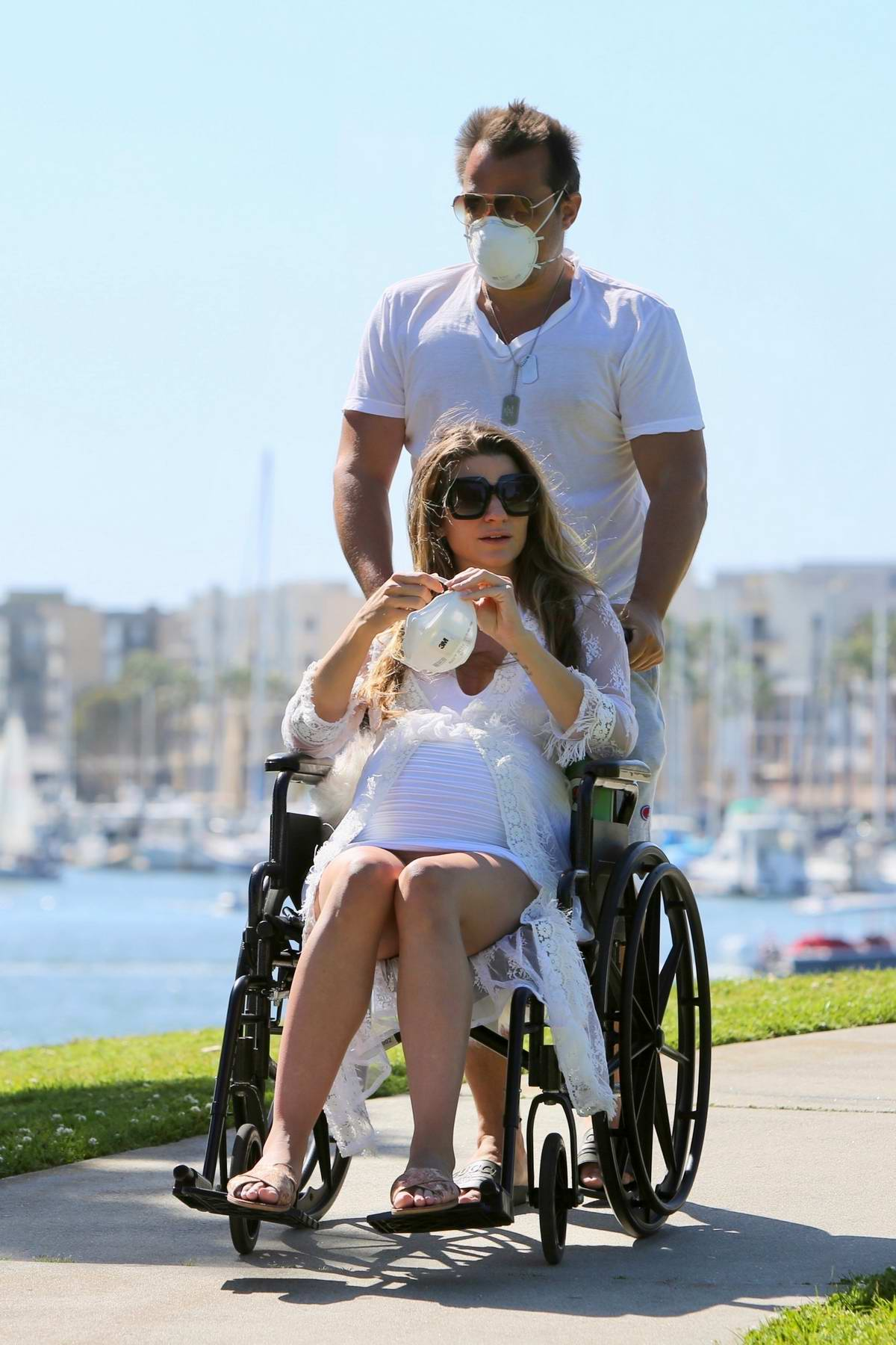 Rachel McCord takes a break from quarantine as she gets some fresh air in Marina Del Rey, California