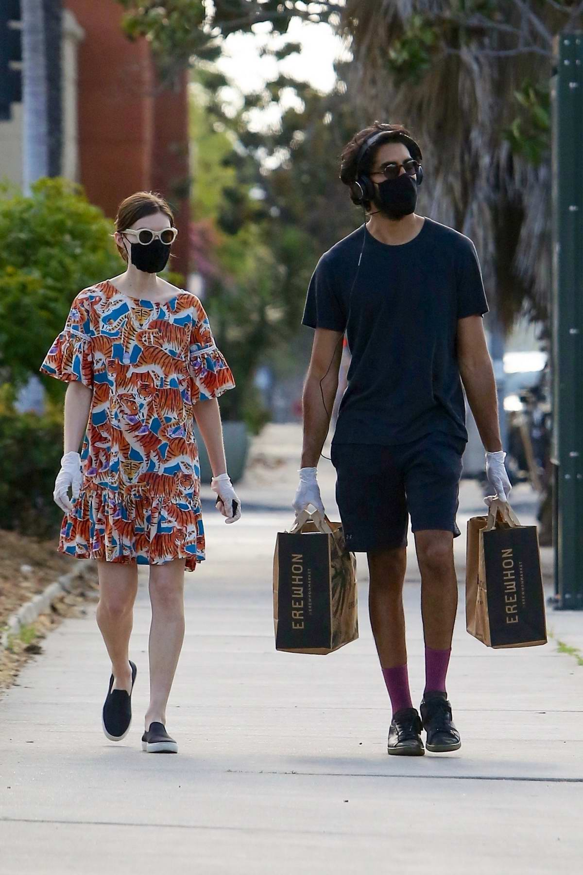 Tilda Cobham-Hervey and Dev Patel step out for some grocery shopping at Erewhon in West Hollywood, California