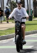Abby Champion and Patrick Schwarzenegger go cycling together in Santa Monica, California