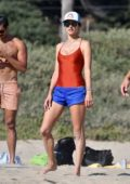 Alessandra Ambrosio enjoys a day at the beach playing volleyball with friends in Santa Monica, California