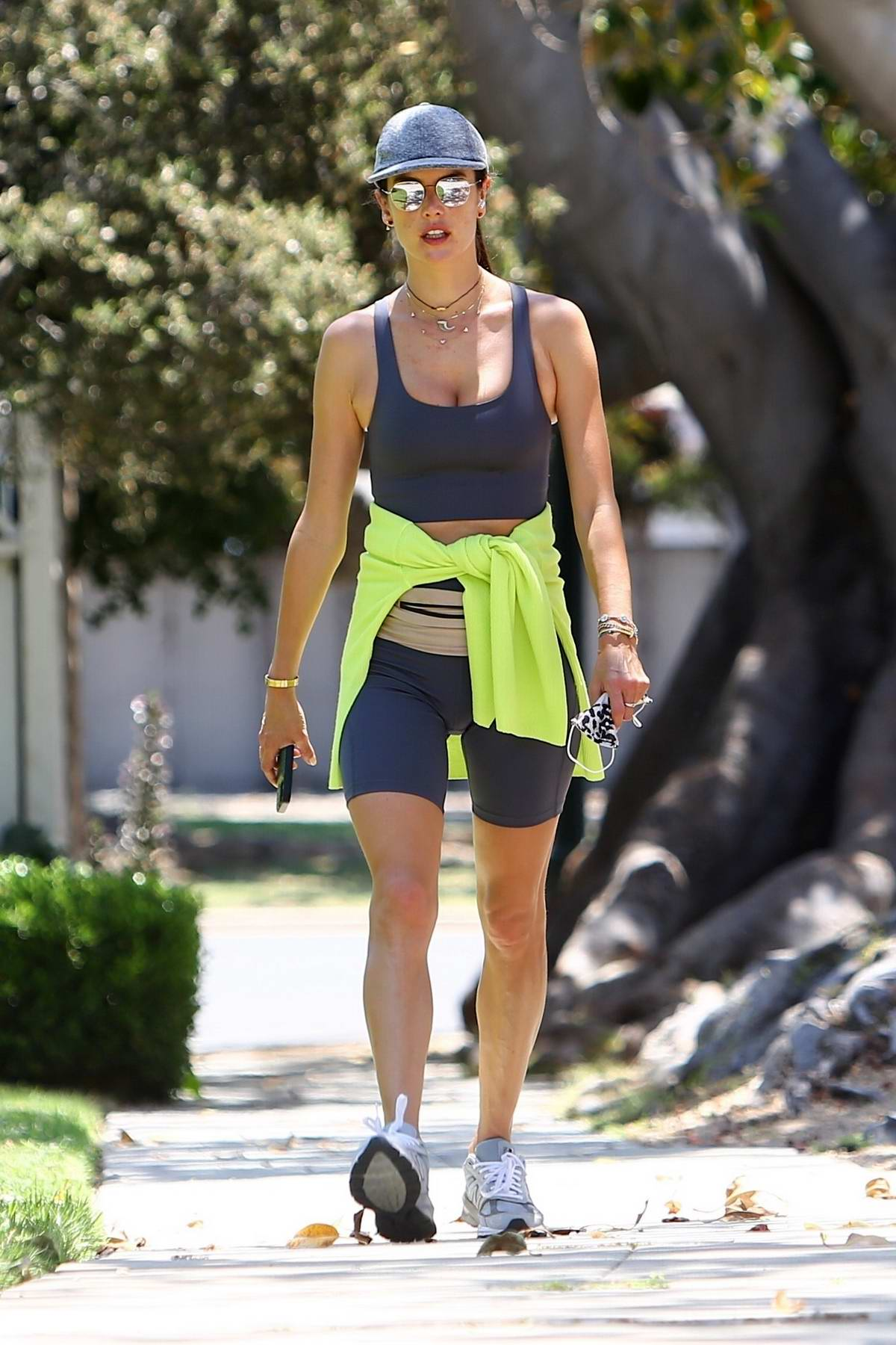 Alessandra Ambrosio goes out for a run with her daughter Anja around Santa Monica, California