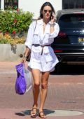 Alessandra Ambrosio looks stunning in a white shirt dress for a lunch outing in Malibu, California