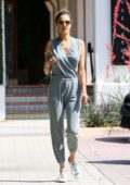 Alessandra Ambrosio looks stylish in a teal grey jumpsuit while making a stop at Sunlife organics in Malibu, California