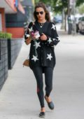 Alessandra Ambrosio sports black athleisure while attending a pilates class in Santa Monica, California