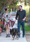 Ana de Armas and Ben Affleck are all smiles as they take out their dogs for a walk in Santa Monica, California