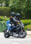 Ana de Armas and Ben Affleck are seen out cruising on his Harley Davidson in Santa Monica, California