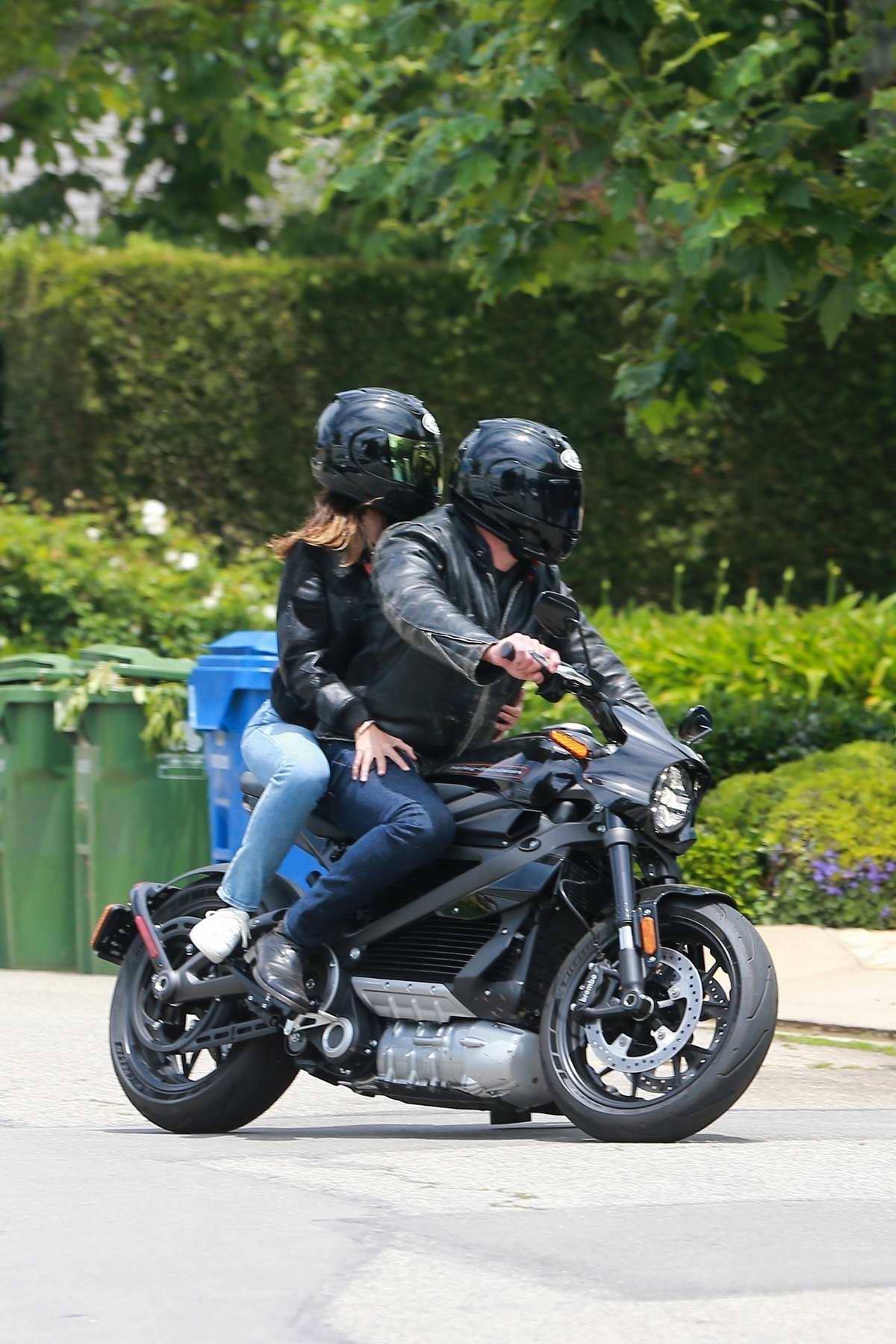 Ana de Armas and Ben Affleck are seen out cruising on his Harley Davidson in Santa Monica, California