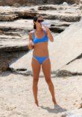 Ana Ivanovic sports a blue bikini as she enjoys a day at the beach in Mallorca, Spain