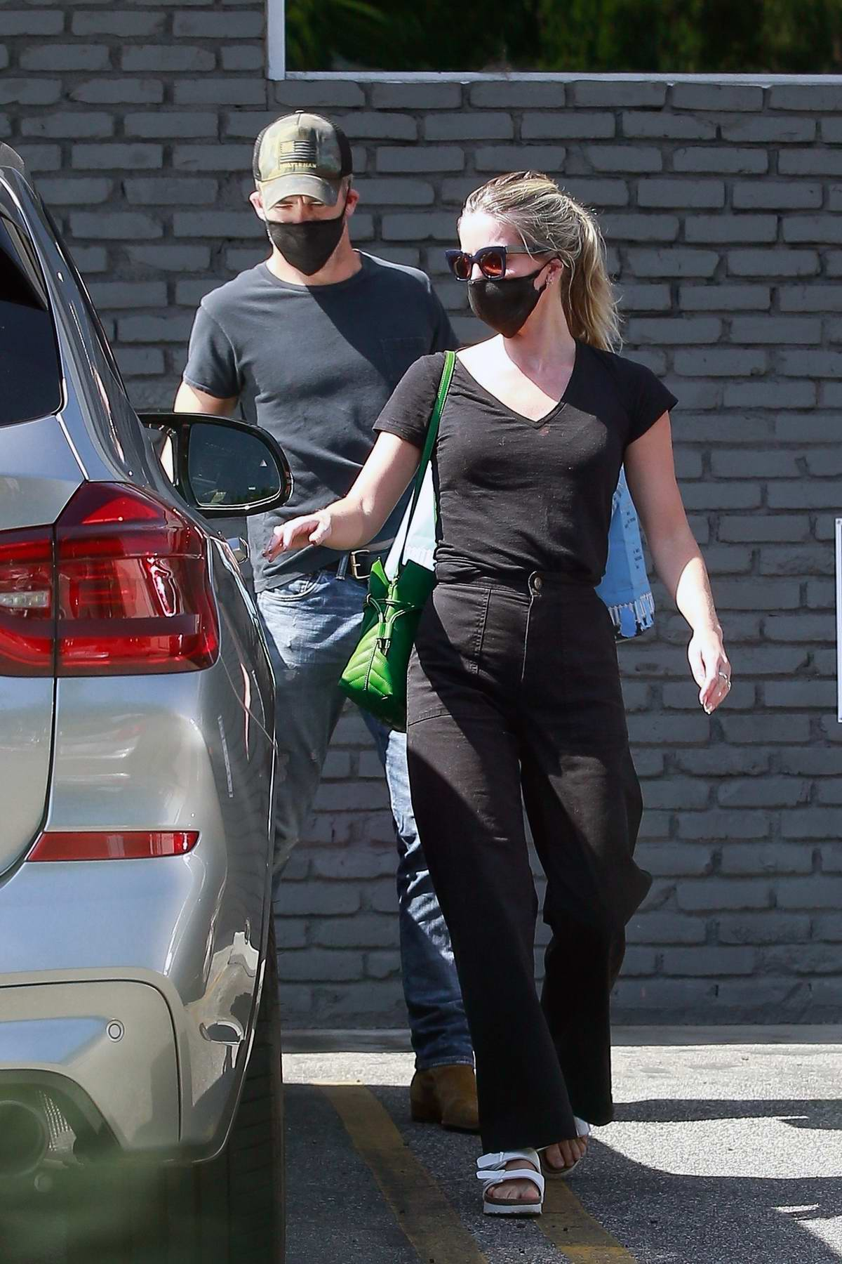 Annabelle Wallis and Chris Pine stop by a pet store to get some supplies in Los Feliz, California
