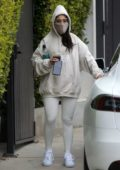 Ariana Grande seen leaving the gym wearing a hoodie and face mask in Los Angeles