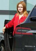 Ariel Winter seen wearing bright red pyjamas as she arrives home with Luke Benward in Los Angeles