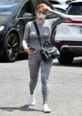 Ariel Winter wears a tight grey top and leggings while out running a few errands in Los Angeles