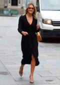 Ashley Roberts looks great in a black dress as she leaves Heart Radio in London, UK