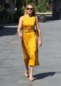 Ashley Roberts looks striking in a bright yellow dress as she leaves Global Radio in London, UK