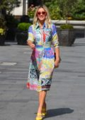 Ashley Roberts puts on a colorful display as she leaves Global Radio Studios in London, UK