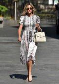 Ashley Roberts seen wearing a monochrome dress as she leaves Heart Radio in London, UK
