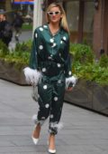Ashley Roberts wears a green silk pajama suit as she leaves Global Radio studios in London, UK