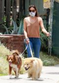 Aubrey Plaza wears a mask as she takes her dogs for a walk in Los Feliz, California