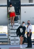 Bella Hadid and Hailey Bieber touch down on a private jet in Sardinia, Italy