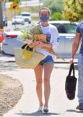 Brie Larson and boyfriend Elijah Allan-Blitz shop for flowers at a farmer's market in Malibu, California