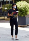 Camila Mendes wears all-black tee and jeans for a coffee run in Los Angeles