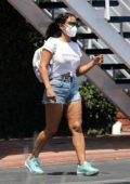 Christina Milian and partner Matt Pokora step out for a family lunch at Mauro's Cafe in West Hollywood, California