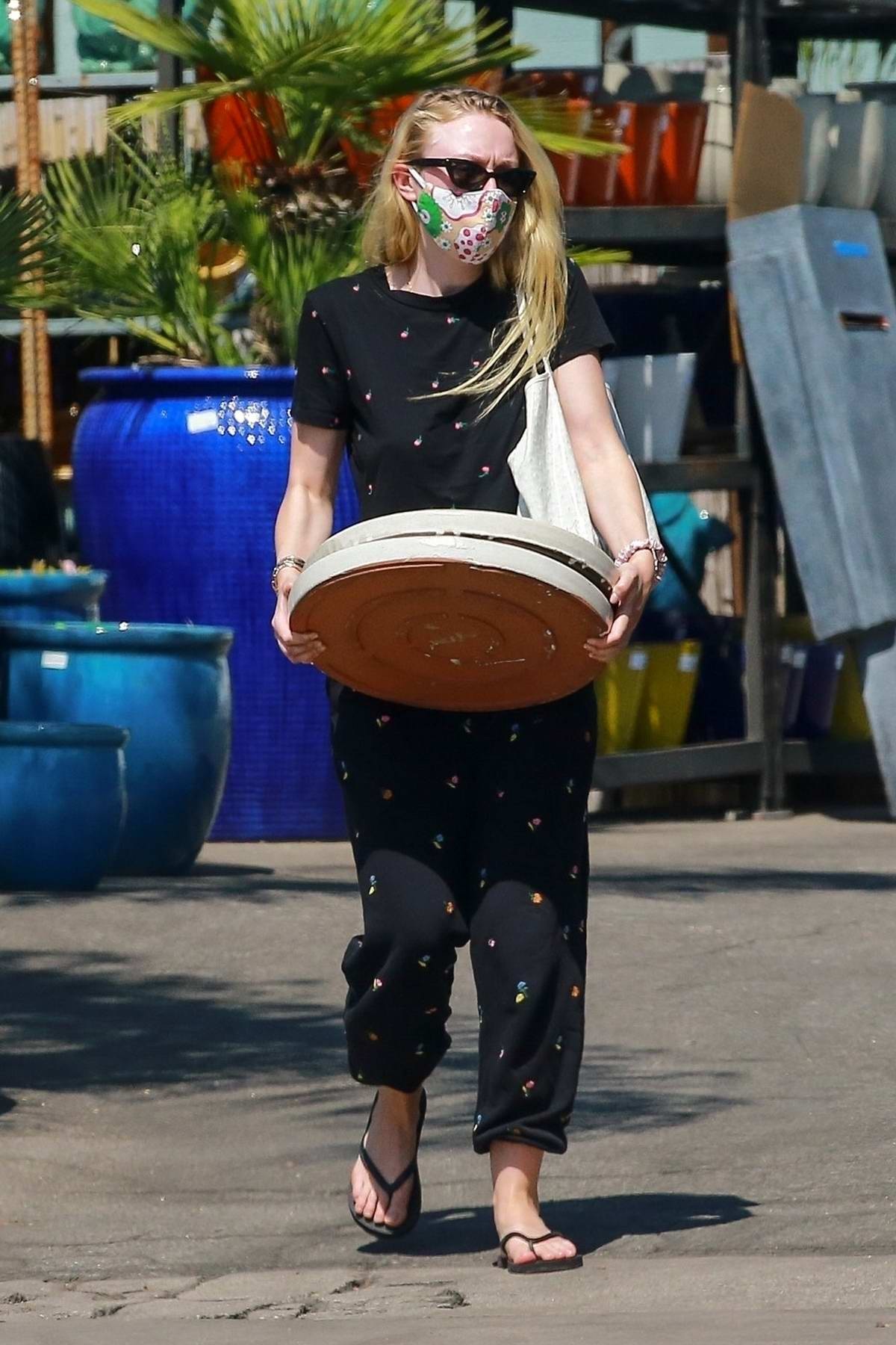 Dakota Fanning picks up some items from a nursery in Los Angeles