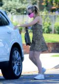 Dakota Fanning wears a pink mask and an animal print dress as she steps out for some shopping in Los Angeles