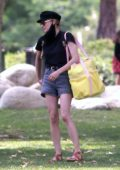 Diane Kruger enjoys a day at the park with her daughter in Beverly Hills, California