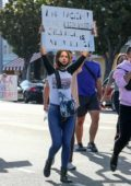 Eiza Gonzalez marches during the 'Black Lives Matter' protest in Los Angeles