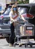 Elizabeth Olsen makes a trip for some grocery shopping at Whole Foods in Los Angeles