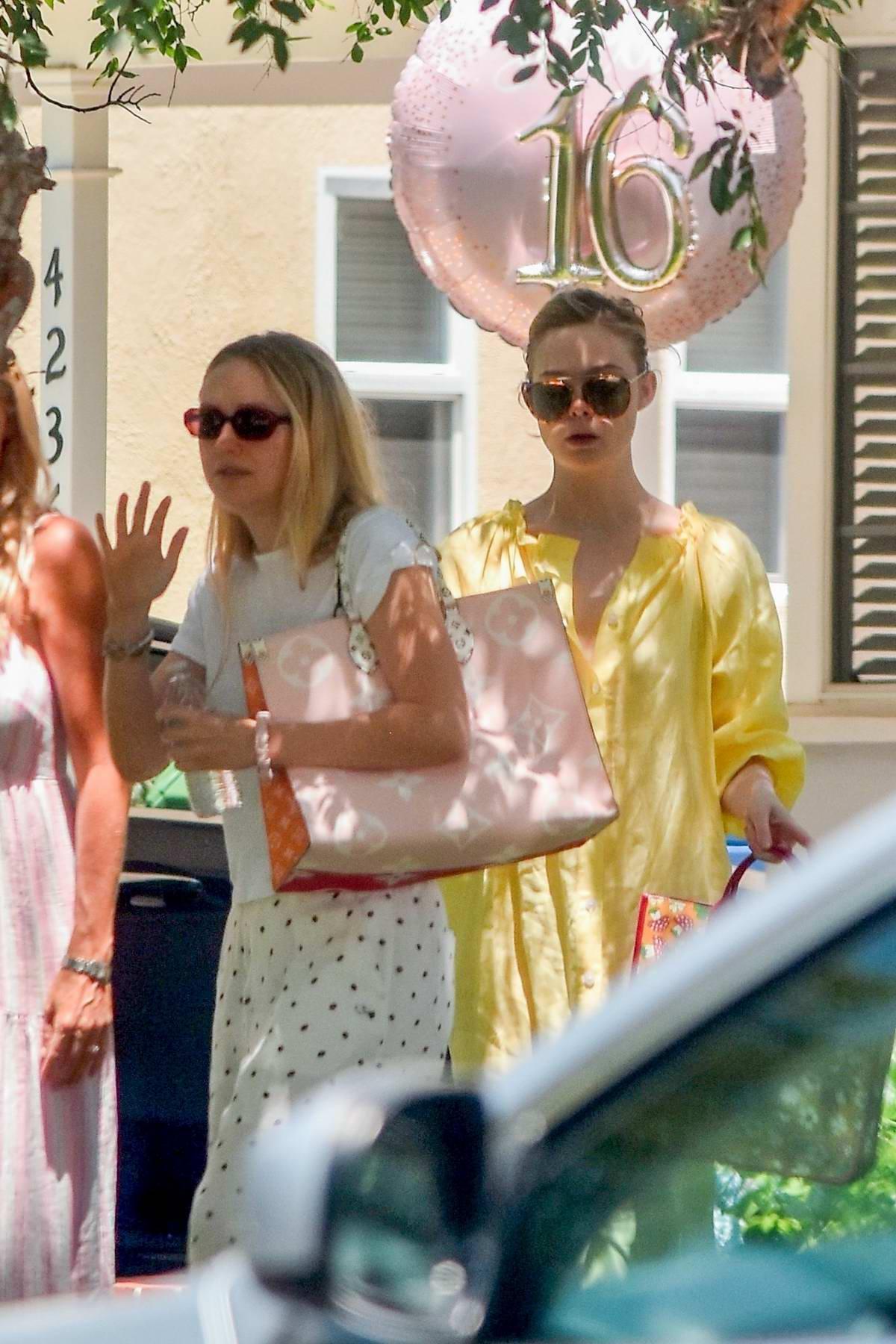 Elle Fanning and Dakota Fanning seen leaving a birthday party in Studio City, California