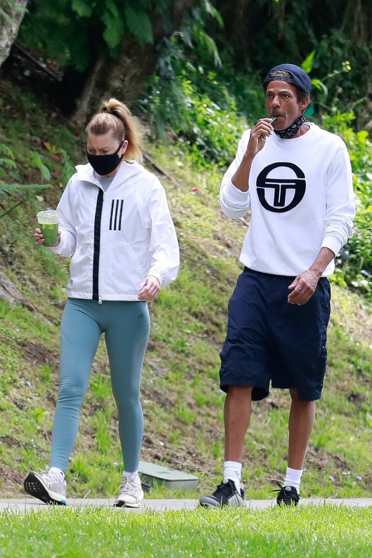 Ellen Pompeo takes a morning hike with husband Chris Ivery at Griffith Park in Los Feliz, California