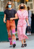 Elsa Hosk is pretty in pink while out for a walk with Tom Daly in New York City