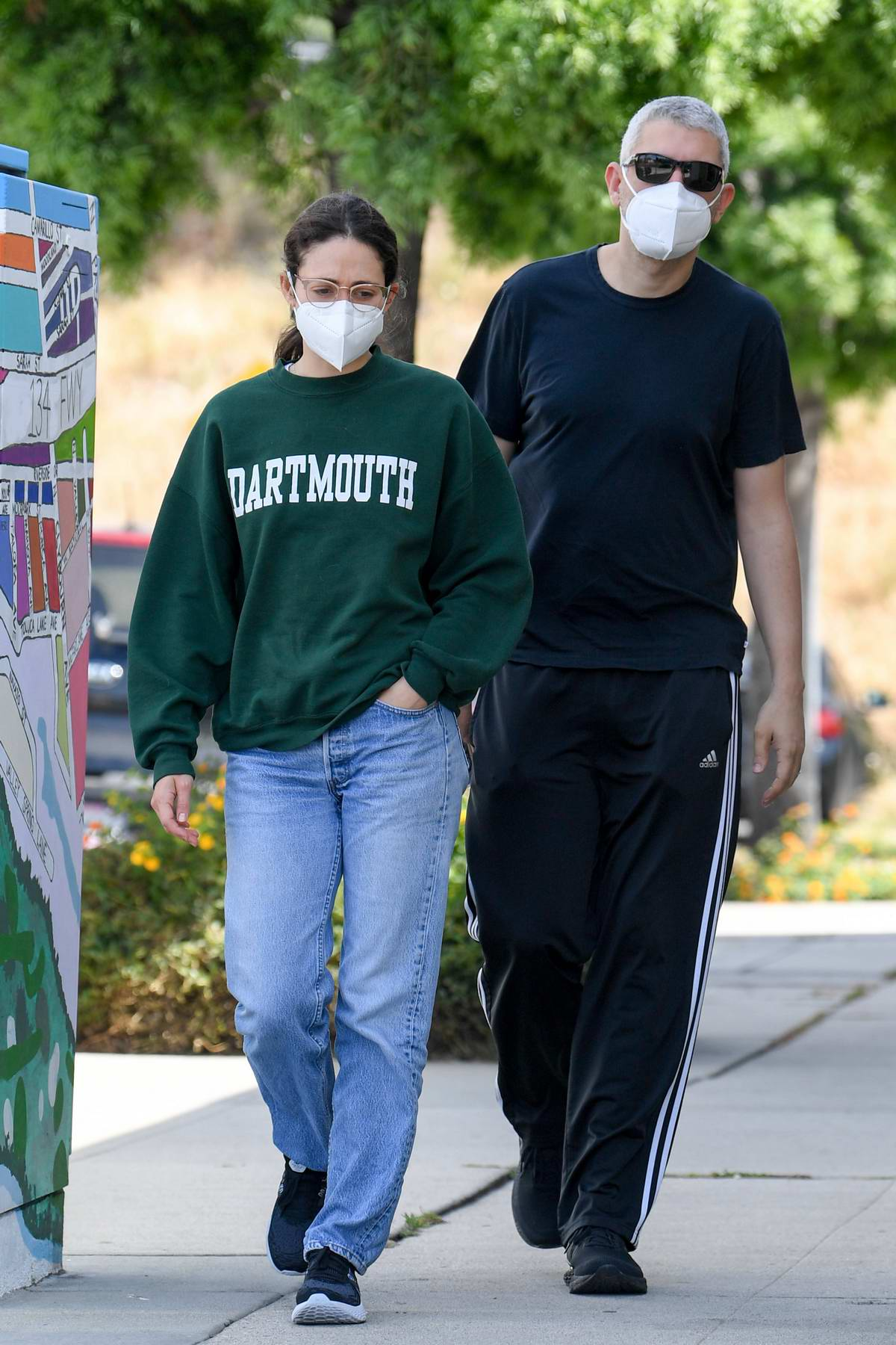 Emmy Rossum and Sam Esmail avoid the riots with coffee stop in Toluca Lake, California