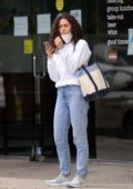 Emmy Rossum grabs lunch and coffee wearing an N95 face mask with husband Sam Esmail in Los Angeles