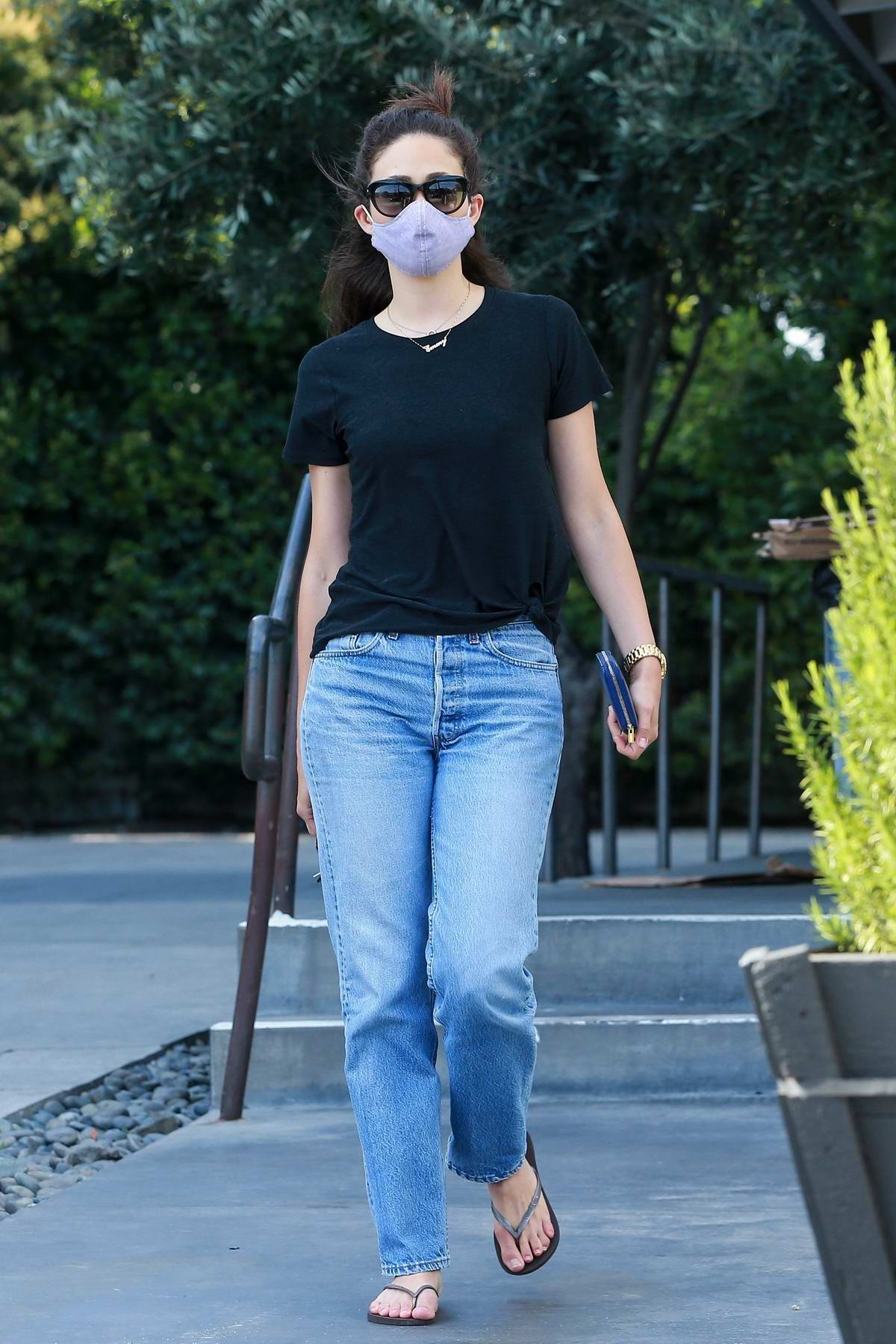 Emmy Rossum picks up some food at Sweetgreen Health food restaurant in West Hollywood, California