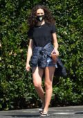 Emmy Rossum wears a black tee and denim cut-offs during a coffee run in Los Angeles