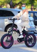 Hailey Bieber and Justin Bieber spend the afternoon riding custom 'Drew' electric bikes in Los Angeles