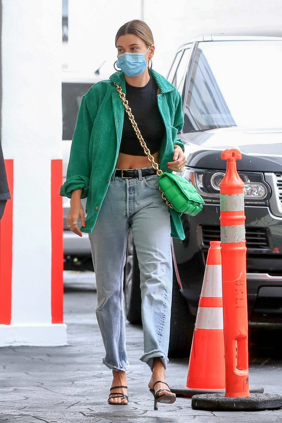 Hailey Bieber looks chic as she arrives at a dermatologist in Beverly Hills, California