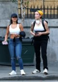 Halsey seen carrying a First Aid kit in her backpack while protesting with a group of friends in Los Angeles