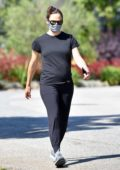 Jennifer Garner dresses in all-black while out for a power walk around her neighborhood in Brentwood, California